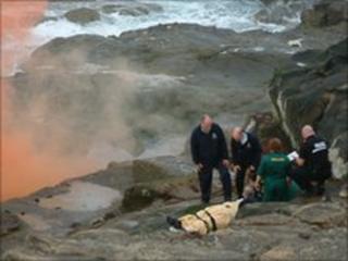 Scene of rock fall rescue (pic courtesy of John Tuttiett)