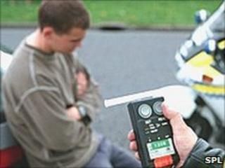 A man is breath tested