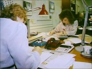 Office workers in the 1980s