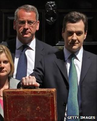 Finance Minister Mark Hoban (left) stands next the Chancellor, George Osborne, on budget day