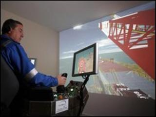 man in crane simulator