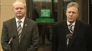 Martin McGuinness and Peter Robinson said they were happy to meet abuse victims