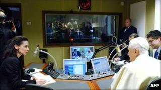 Pope Benedict in a studio of Vatican Radio in Rome (file photo from March 2006)
