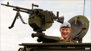 Prince Harry aboard a Fuchs armed vehicle