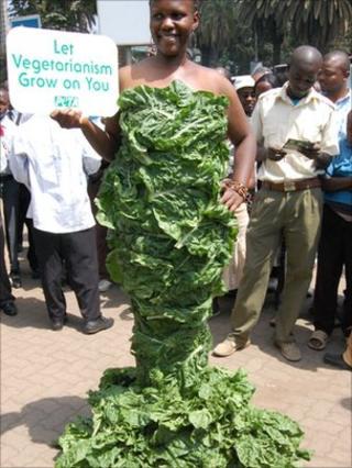 Michelle Odhiambo in her spinach dress