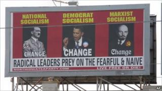 Billboard linking Obama to Hitler and Lenin