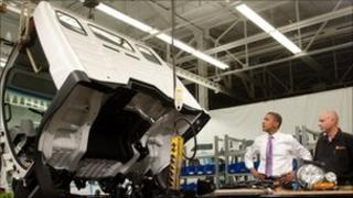 Mr Obama at an electric car factory