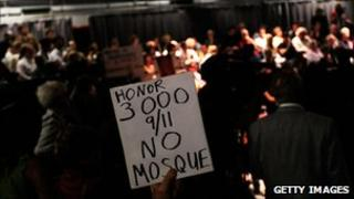 Protest sign at 9/11 mosque public hearing