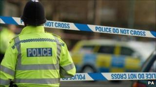 Policeman at a crime scene