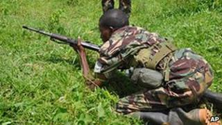 Somali government soldier being trained in Uganda (file photo)