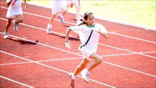 A child winning a race