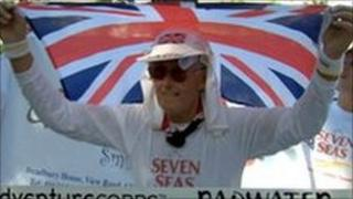 Jack Denness at the finish line of the Badwater Ultramarathon