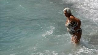 A woman in the sea