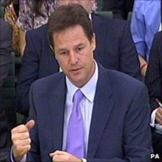 Nick Clegg, giving evidence to the political and constitutional reform committee