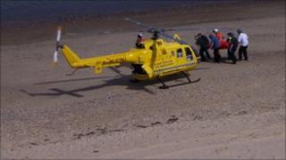 Air ambulance on Scratby beach