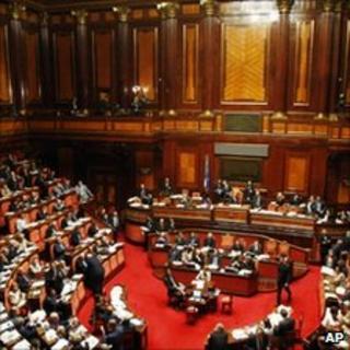 Italian Senate during confidence vote in Rome