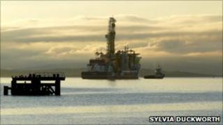 Drilling vessel off Nigg in Easter Ross