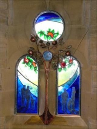Memorial window for Sheila Ferguson