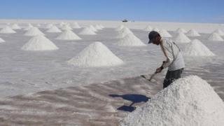 Salt worker Moises Chambi on the Uyuni salt flats