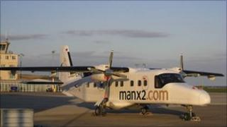 Manx2 plane which operates on the north-south Wales route from Anglesey to Cardiff