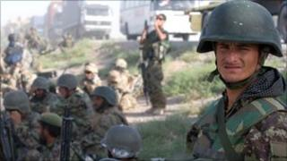 Afghan National Army troops wait to deploy in Operation Omid Do
