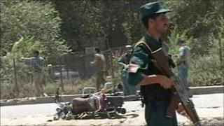 Police guarding suicide blast site, Kabul - 18 July 2010