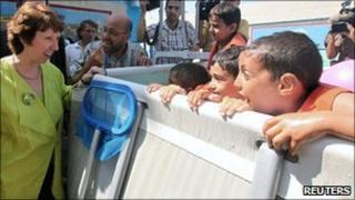 Catherine Ashton at a UN-run summer camp in Gaza