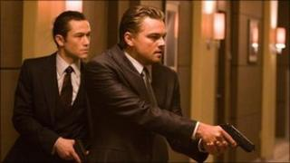 Joseph Gordon-Levitt, left, and Leonardo DiCaprio in a scene from Inception