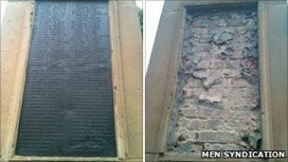 Blackley war memorial before (left) and after the theft