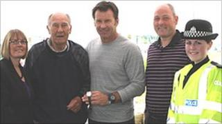 Angela Campbell, George Faldo, Sir Nick Faldo, Gordon Campbell and PC Kristin Bellingham (left to right)