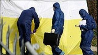 Forensic experts at the 2007 murder scene
