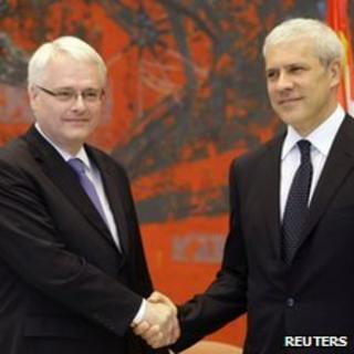 President Josipovic of Croatia (l) and President Tadic of Serbia (r) 18 July 2010
