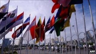 Flags of the Asean nations at the summit, Hanoi, Vietnam, July 2010