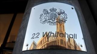 Nameplate of 22 Whitehall, home to several government departments