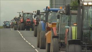 Tractors in the protest convoy