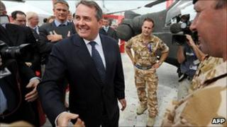 Defence Secretary Liam Fox meets military personnel
