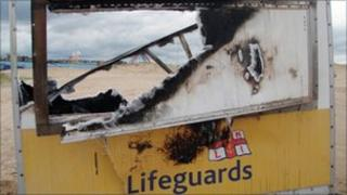 Burnt out MLU in South Shields