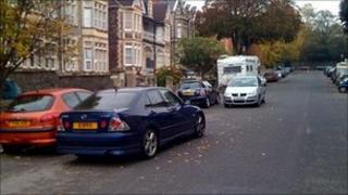 Double-parked cars in Bristol