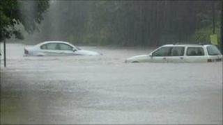 Cars in 2007 floods
