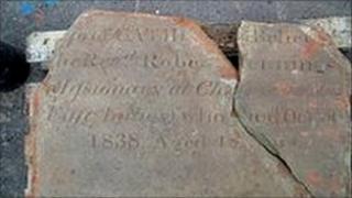 Gravestone found at dig