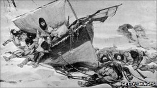 The Franklin expedition, in a painting by W Turner Smith