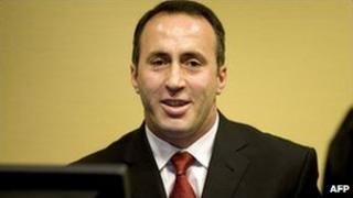 Ramush Haradinaj at The Hague, 3 April 2008