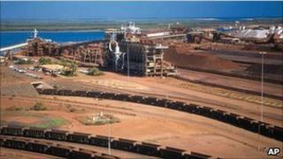 BHP Billiton's iron ore depot in Port Headland, Australia