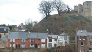 Lewes Castle and houses.