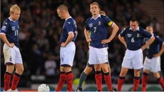 Scotland players during Netherlands match