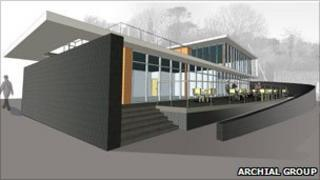 Architect's plan of new Mylor yacht club