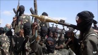 Al-Shabab fighters outside Mogadishu, Somalia - 8 Dec 2008 file photo