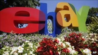 The company logo is shown at eBay headquarters in San Jose, California