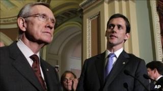 Senate Majority Leader Harry Reid and Senator Carte Goodwin