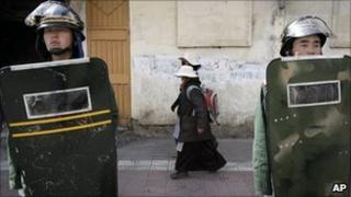 File image of paramilitary police in Lhasa on 27 March 2008